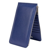 Acmede Women's Genuine Leather Bifold Card Holder Wallet Long Purse with RFID Zipper , 18cm Length