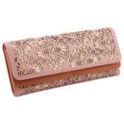 Meliya Womens Pu Leather Hollow Out Perforation Pattern Wallet Zippered Card Holder Long Purse, Pink