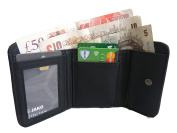 Ladies Small Leather Purse - Black Coin Purses - 2 Coins and Card Sections - Rear Photo or ID Window - Full Zip Around Zipped Coin Pouch - Micro Fibre Inner - 11cm x 8.5cm x 4cm - Quenchy London QL223