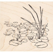 Lily Pad & Water Lilies Rubber Stamp Scenic Stamp