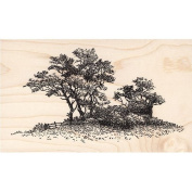 Trees on Hill Rubber Stamp Scenic Stamp