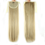 USIX 50cm Hair Piece Wrap Around Ponytail Extension Straight Nature Looking Heat-Resisting Ponytail Extension