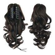USIX 34cm Hair Piece Full Wrap Around Ponytail Extension Wave Cruly Nature Looking Heat-Resisting Ponytail Extension