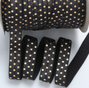 Top Hunter 1.6cm X 10 Yards Black Fold Over Elastic Strips Gold Dots Printed Stretch Ribbon FOE For Hair Tie Hair Band Headband Accessories