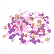 100Pcs DIY Colourful Wooden buttons Red Heart Pattern Decorative Buttons Powder Purple Series