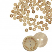 Sandistore 100pcs Wood Love Handmade 2 Holes Wooden Buttons Sewing Scrapbooking DIY