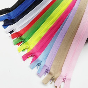 Chenkou Craft 12pcs Silk Invisible Zipper Lace Tape Closed Clothes Dress Sewing Craft 60cm (Full Lnegth is 60cm ) Assorted Colour Zippers