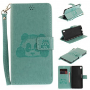 For Sony Xperia XA Ultra/ C6 Case [with Free Screen Protector], Qimmortal(TM) 3D Emboss Panda PU Leather With Kickstand Card Cash Packet Magnetic Flip Book Wallet Cover For Sony Xperia XA Ultra/ C6