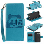 For Sony Xperia X Mini Case,Sony Xperia X Compact Case [with Free Screen Protector], Qimmortal(TM) 3D Emboss Panda PU Leather With Kickstand Card Cash Packet Magnetic Flip Book Wallet Cover For Sony Xperia X Mini/X Compact