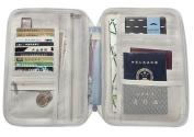 Mulit-purpose Passport Wallet Holder Zippered Travel Document Organiser iPhone Cell Phone Ticket Passport Cash Card Key Case Holder Storage Clutch Bag Purse Wallet Grey