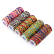 Mtsooning 5 Pcs Sewing Machine Threads Overlocking String Polyester Colourful