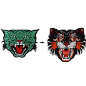 1 set=(2piece)Animal tiger lion leopard wolf head sew on patches for clothes Sew-on embroidered patch motif applique TH310+TH309