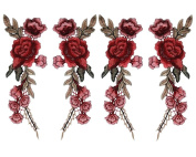 Honbay 2 Pairs Rose Flower Embroidery Applique Patch Sewing Craft Decoration
