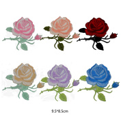 Monique Rose Floral Embroidery Cloth Patches Appliques Decal Stickers Iron-on Clothes Bags Pack of 6