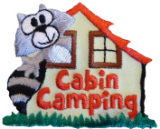 Scout Cabin Camping -Raccoon Iron On Embroidered Fun Patch