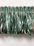 5.4cm Extra Thick Fancy Loop Ribbon Fringe Trim LPF-2/39-4 Green & Taupe