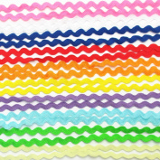 Dandan DIY 50yards Multi-Colours Colourful 5mm Wave Bending Fringe Trim Ribbon for Clothes Dress Sewing Flower Making Home Party Wedding Decoration Lace Ribbon Craft Supply