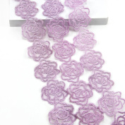 5 Yards Organza Embroider Romantic Rose Flower Floral Lace Trim Applique Sewing DIY Craft Lace For Festival Wedding Party Birthday Bridal Shower Decoration