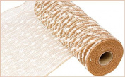 25cm x 9.1m Poly Jute Snowball Mesh Ribbon (Natural White) : RY820248