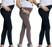Mija - 3 pairs of Long full lenght cotton Maternity leggings 7200W