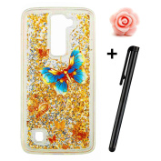 LG K7 Case,LG K8 Case,TOYYM 3D Bling Flowing Floating Liquid Case Silicone Soft TPU Clear Transparent Case Cover with Blue butterfly Unique Pattern Design,Flexible Bumper Protective Back Skin Shell Sparkle Star Shiny Quicksand Case Cover for LG K7/K8