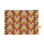 Kess InHouse My Triangles in Red Everything Bag Flat Pouch Julia Grifol, Orange Brown, 22cm by 15cm