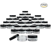 NALATI 3g/3ml 50 Pieces Round Plastics Jars with Black Lids for Acrylic Powder, Rhinestones, Charms and Other Nail Accessories