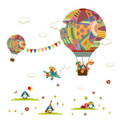 Raylinedo® Hot Air Balloon Removable Wall Stickers Window Sticker Art Decals Mural DIY Wallpaper for Room Decal