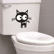 LianLe Toilet Stickers Big Cat Wall Sticker Removable Decal for Bathroom Kid's Room Living Room Bedroom