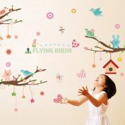 Animals Branch Birds Wall Sticker Decal Home Paper PVC Murals House Wallpaper Bedroom Kids Babys Living Room Art Picture Decoration