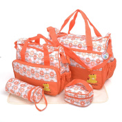 BabyHugs® 5pcs Baby Nappy Changing Nappy Messenger Hospital Maternity Bag Set with Flowers Print Design - Orange