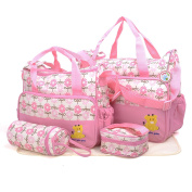 BabyHugs® 5pcs Baby Nappy Changing Nappy Messenger Hospital Maternity Bag Set with Flowers Print Design - Pink