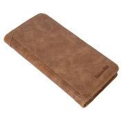 Genuine Leather Wallet Long Cowhide Credit Card Holder Coin Case for Men - Yellow