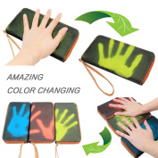 Boshiho Heat-sensing Card Holder Wallet, Leather and Cork Finger Touch Interaction Induction Colour Changing Thermoinduction Zipper Around Cell Phone Clutch Purse