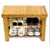 Shoe Cabinet Shoe Rack with Wood Bench Bamboo 60 x 28 x 45 cm/Bekateq | Ideal Eco-Friendly Natural Look Shoe Rack Shoe Shelf Shoe Storage Sturdy, Strong, Durable and Easy to Build