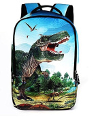 New high school students 3D trendy personality backpack, leisure outdoor male package , Dinosaur