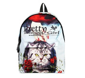 New high school students trend printing cartoon cat backpack travel bag , ch1505d4-34