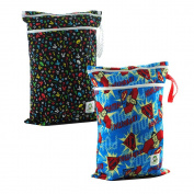 Coolababy 2 Reusable Baby Reusable Cloth Nappy Waterproof Wet and Dry Bags Portable For Boys
