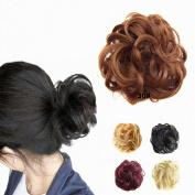 FESHFEN Scrunchy Scrunchie Hair Bun Updo Hairpiece Hair Ribbon Ponytail Extensions Hair Extensions Wavy Curly Messy Hair Bun Extensions Donut Hair Chignons Hair Piece Wig-30# Light Auburn