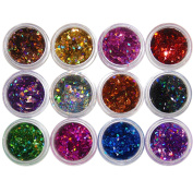 Polytree 12 Colours DIY Nail Art Glittering Rhombus Sequins Manicure Decorations