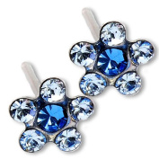 Ear Piercing Earrings Light Sapphire Daisy Flower Silver Studs Studex System 75 Hypoallergenic