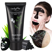 Black Peel Off Mask LuckyFine Blackhead Removal Facial Deep Cleansing Purifying Whitening Mud Mask/Face Cleaning Mask+Spoon