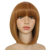 DODOING Bob Style Wig Disco Cosplay Party Costume Wigs Synthetic Short Straight Bang Hair Wig Light Auburn mix Ginger