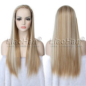 Straight Long Hair Fall Highlight Brown Blonde Wig Hairpieces 3/4 Half Wig Fall for Women