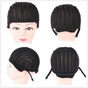 2pcs M size Cornrow Wig Cap For Making Wigs Adjustable Black Colour Crochet Braided Weaving Cap Lace Elasti Hairnet Hair Styling Tool