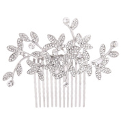 Fairy Moda Vintage Inspired Leaves Bridal Hair Comb Silver Clear Rhinestone Hair Clip