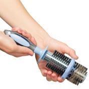 Ideaworks Easy Clean Ergonomic Round Bristle Hair Brush w/ Built-In Remover