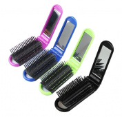 LOUISE MAELYS 4pcs Colourful Portable Folding Hair Brush with Mirror Compact Pocket Hair Comb for Travel Gift Idea