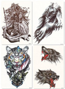DaLin 4 Sheets Temporary Tattoos for Men Women, War Lion, Wolf, Tiger