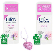 Lafe's Bodycare Natural Stick Deodorant BLISS SCENT (2 Pack) & Pink Rhinestone Heart Necklace Pendant